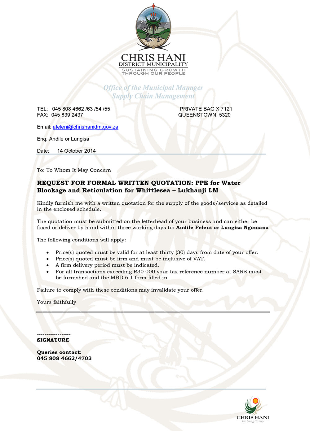 SCM RFQ – Protective Clothing Sample Request – Chris Hani District ...