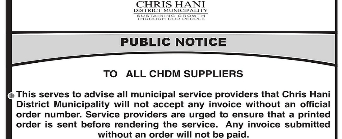 TO ALL CHDM SUPPLIERS